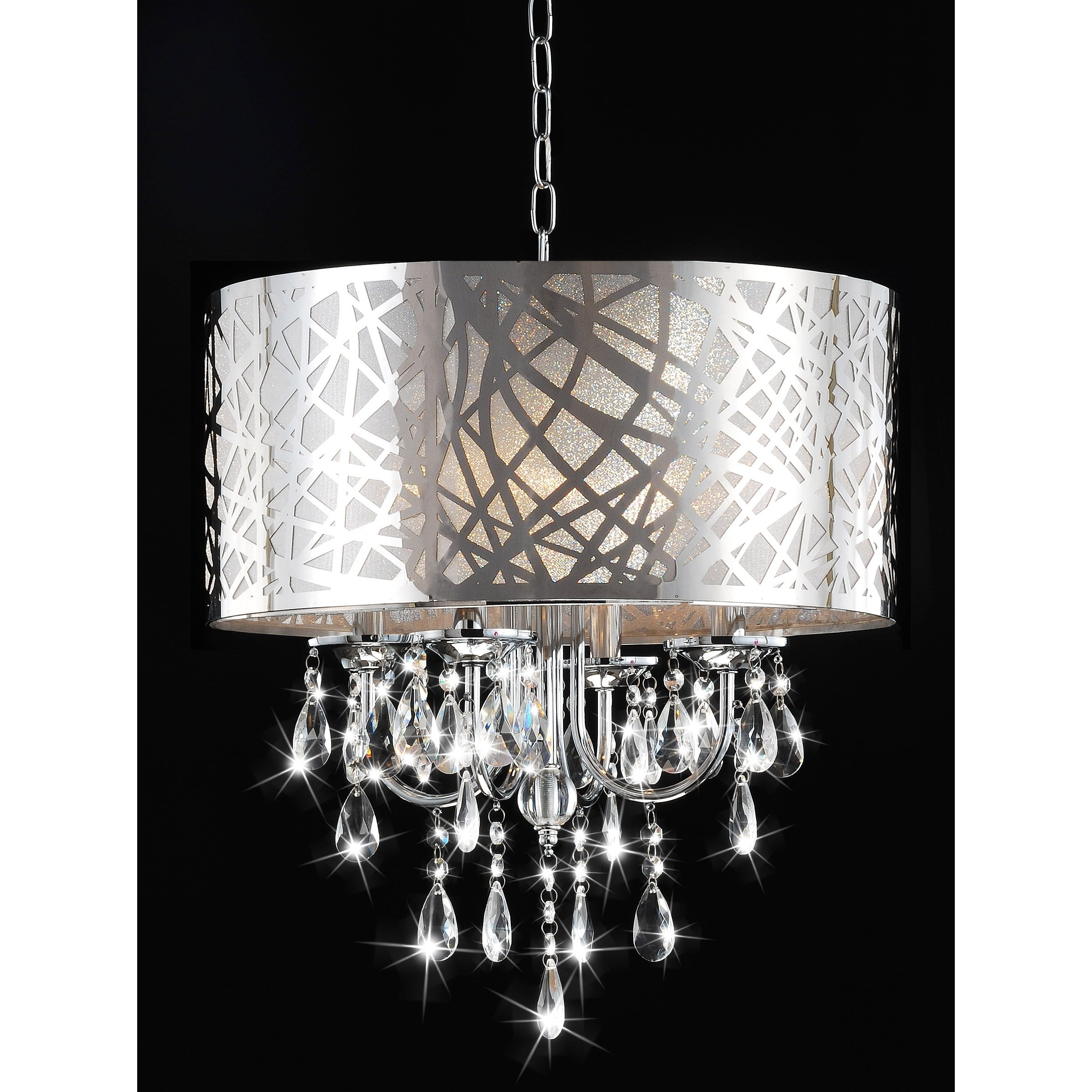 4 Light Chrome Crystal Chandelier – Free Shipping Today – Overstock Intended For Latest 4 Light Chrome Crystal Chandeliers (View 3 of 20)