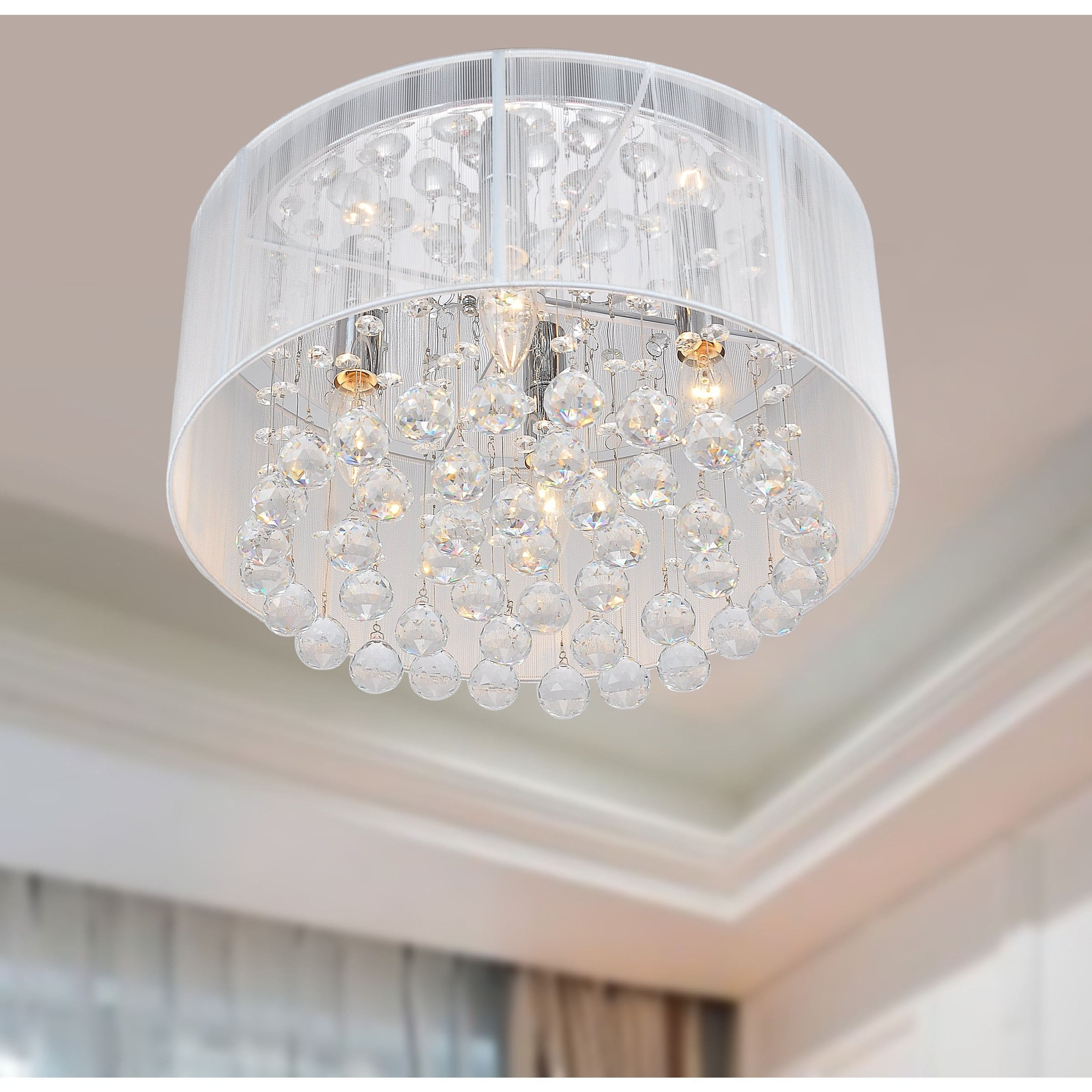 4 Light Chrome Crystal Chandeliers Pertaining To Newest Silver Orchid Taylor 4 Light Chrome And White Crystal Chandelier (Gallery 18 of 20)