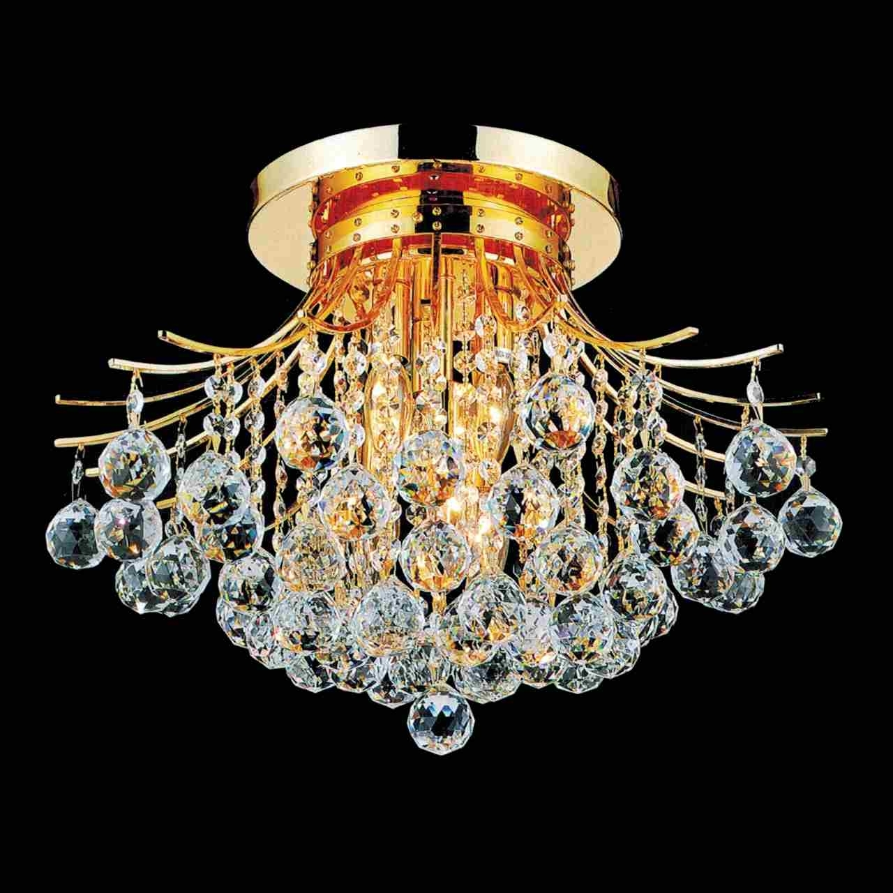 "4 Light Chrome Crystal Chandeliers With Regard To Most Popular Brizzo Lighting Stores. 20"" Monarch Crystal Flush Mount Round (Gallery 15 of 20)"