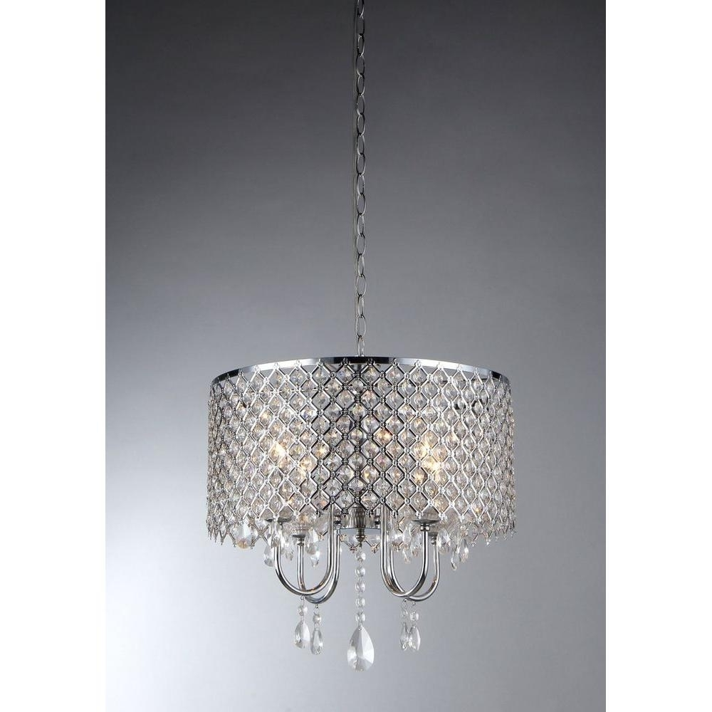 4 Light Chrome Crystal Chandeliers With Regard To Most Popular Warehouse Of Tiffany Angelina 4 Light Chrome Crystal Chandelier With (Gallery 1 of 20)