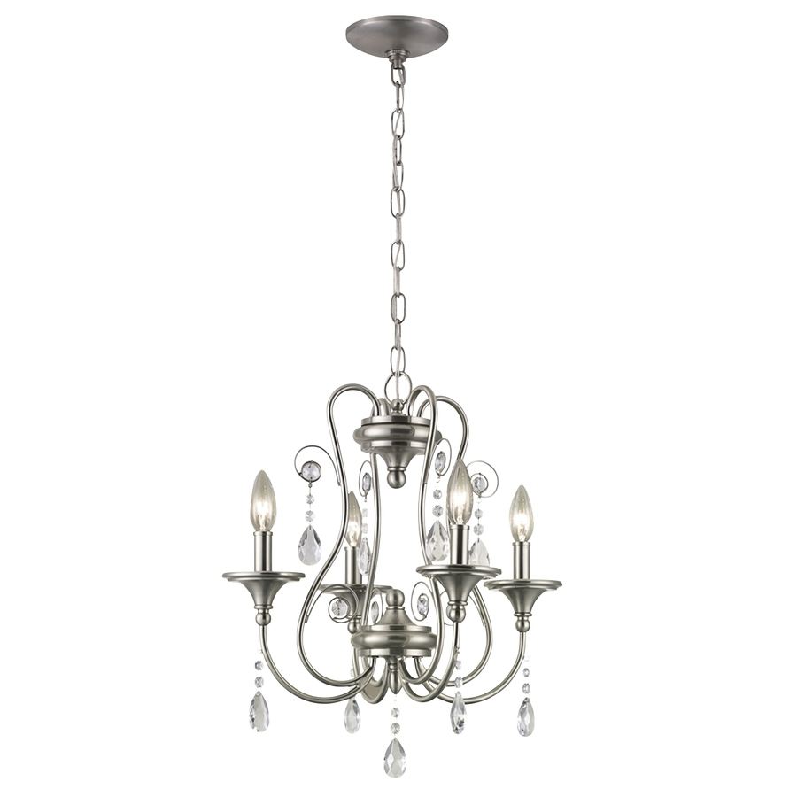 4 Light Crystal Chandeliers For Current Shop Portfolio Opula 17 In 4 Light Brushed Nickel Crystal Candle (View 5 of 20)