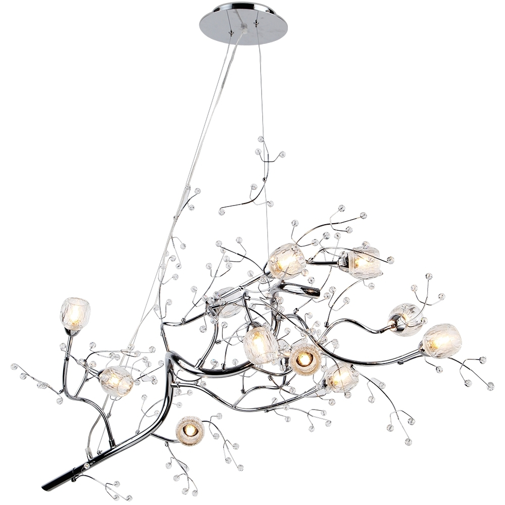 "47"" 12 Light Oval Shaped Tree Twig Branch Flower Crystal In Favorite Branch Crystal Chandelier (View 2 of 20)"
