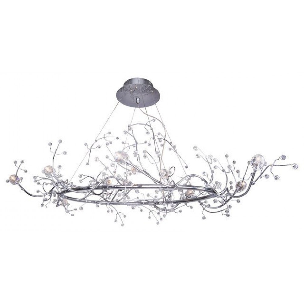 "47"" 12 Light Oval Shaped Tree Twig Branch Flower Crystal With Favorite Branch Crystal Chandelier (View 16 of 20)"