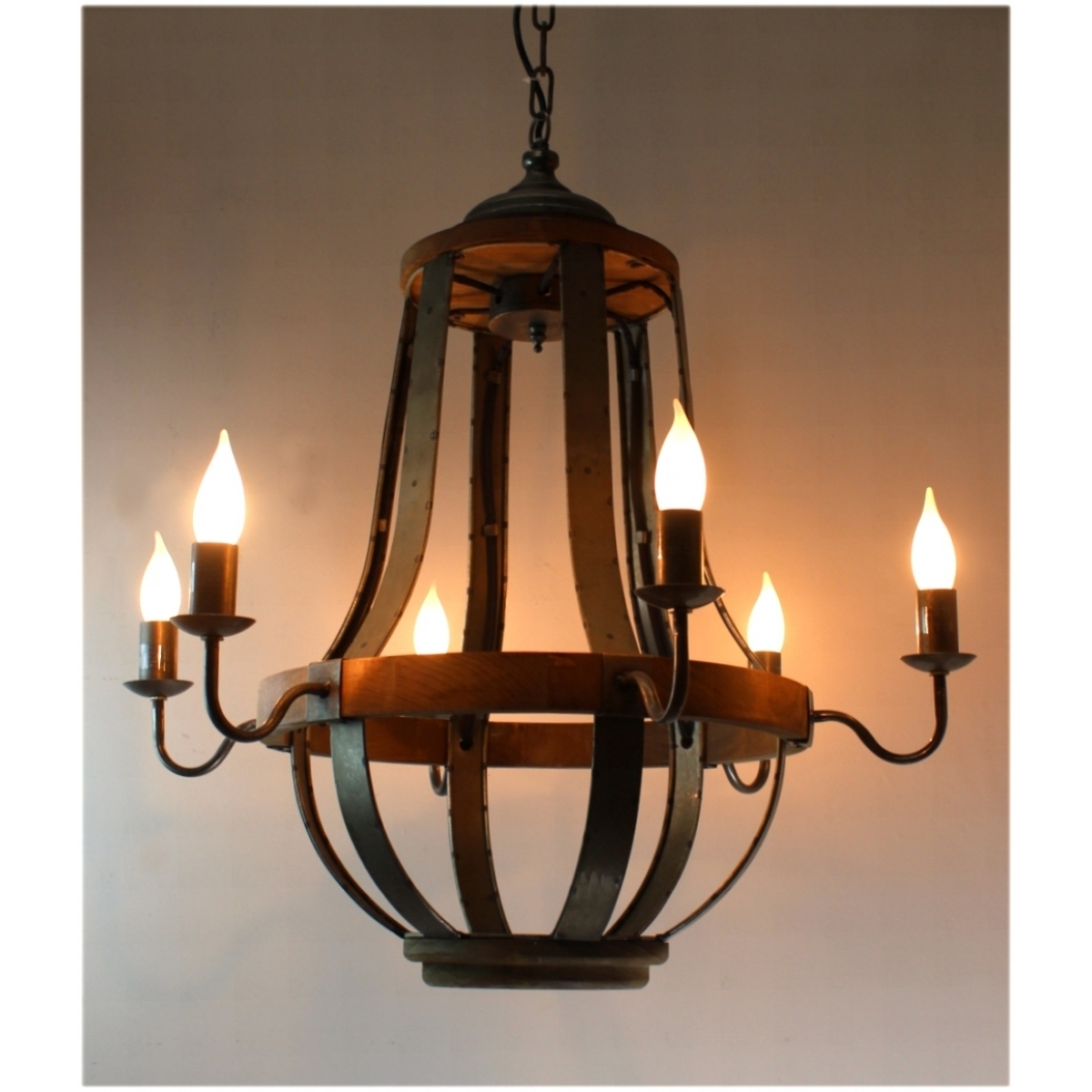 $579 Iron Strap And Aged Wood Chandelier French Country Vintage Pertaining To Well Known French Wooden Chandelier (View 3 of 20)