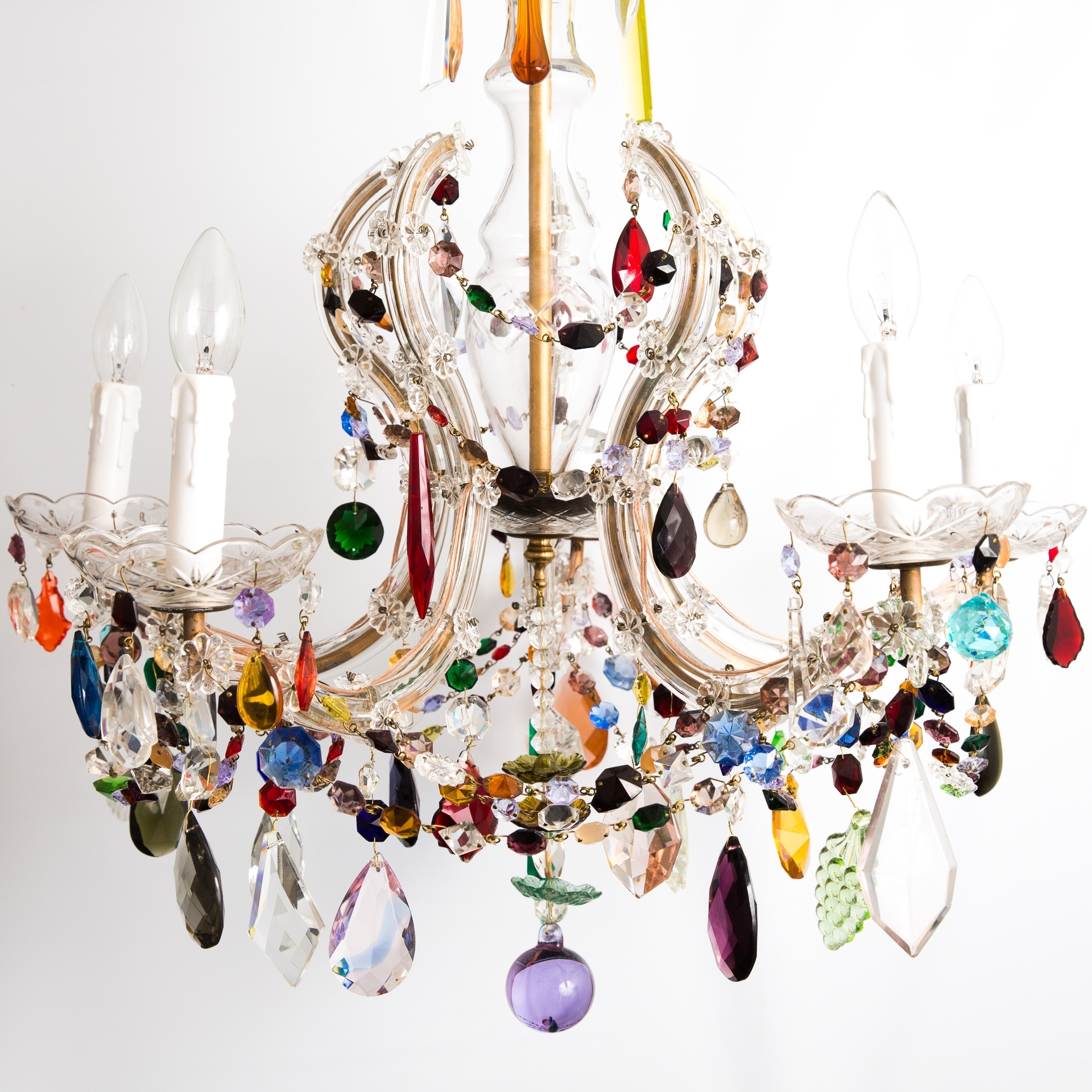 6 Arm Crown Shaped Marie Therese With Multi Coloured Drops – The Pertaining To Trendy Coloured Glass Chandelier (Gallery 7 of 20)