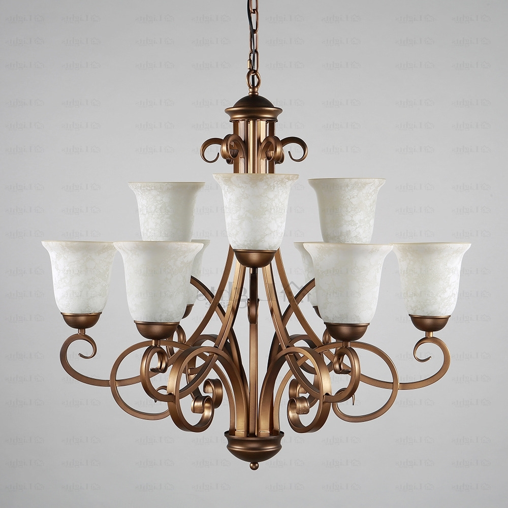 9 Light Glass Shade Two Tiered Shabby Chic Chandelier For Well Known Country Chic Chandelier (View 1 of 20)