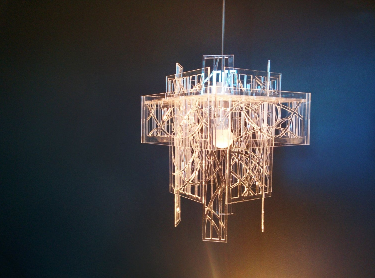 Acrylic Chandelier Lighting For 2019 Recycled Acrylic – Laser Cut – Light Shade / Chandelier (Gallery 10 of 20)