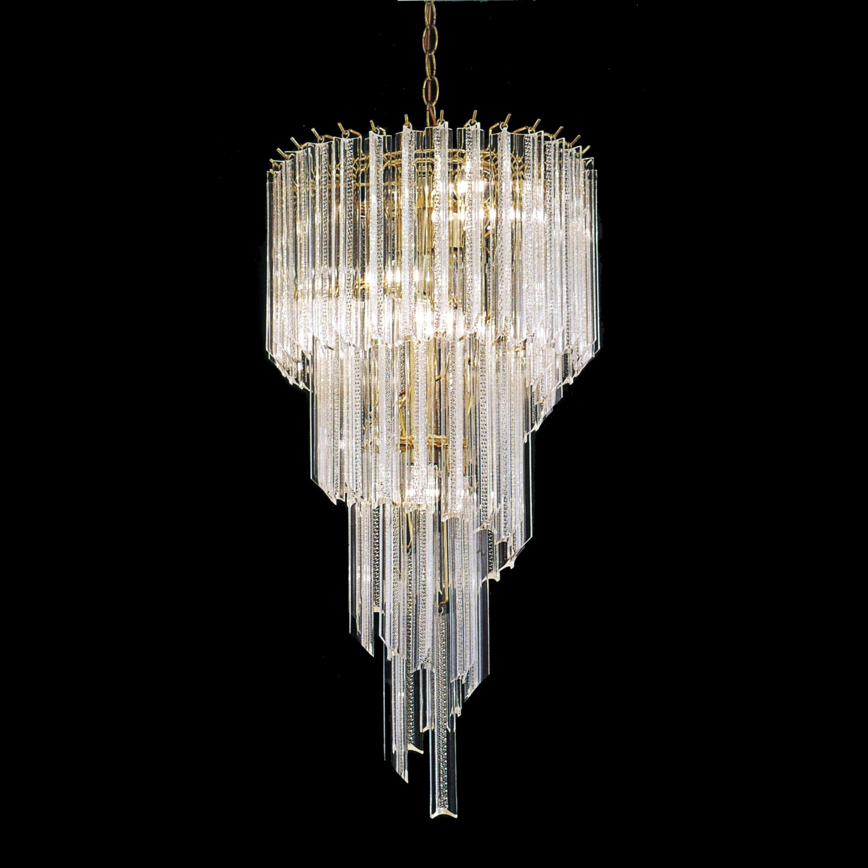 Acrylic Chandeliers For Recent Chandeliers Design : Marvelous Acrylic Light Polished Brass Spiral (View 2 of 20)