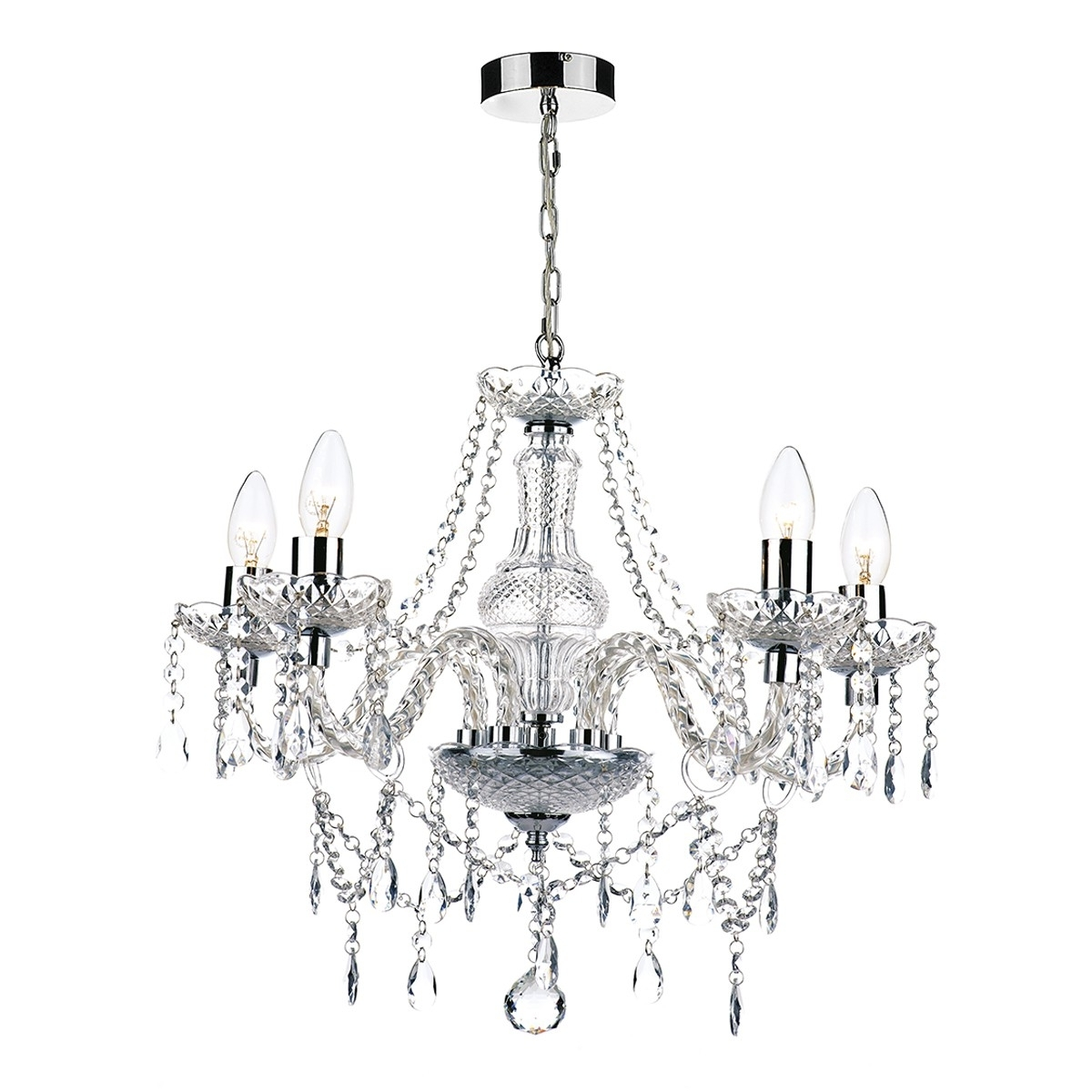 Acrylic Chandeliers Inside Popular Light : Light Chandelier Katie Polished Chrome Acrylic Glass Silver (View 4 of 20)