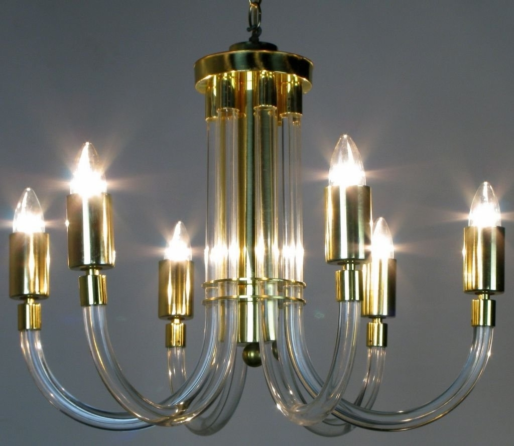 Acrylic Chandeliers With Regard To Most Up To Date Peter Hamburger Brass And Acrylic Six Arm Chandelier For Sale At 1Stdibs (Gallery 13 of 20)