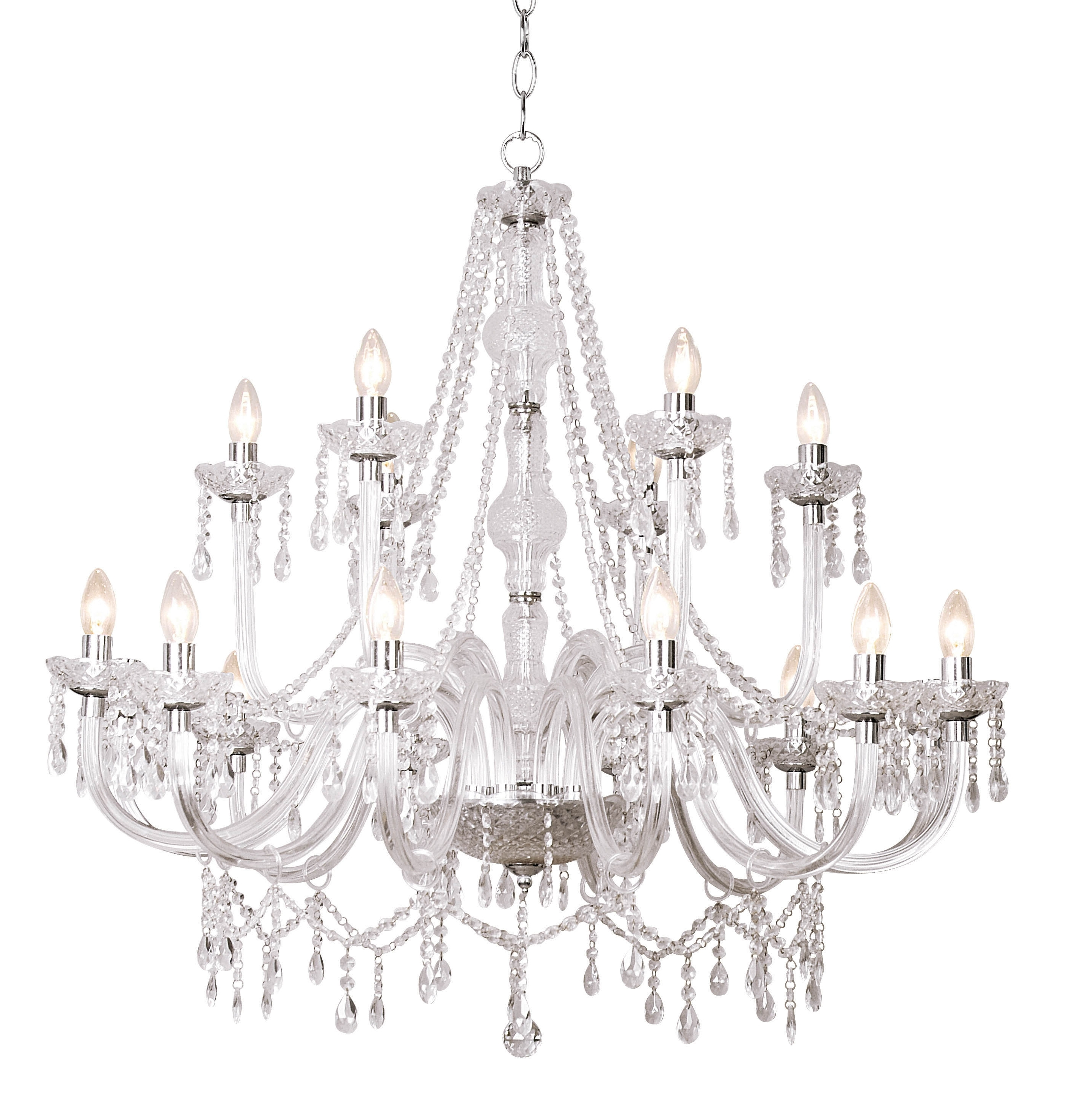 Acrylic Chandeliers Within Trendy Dar Lighting Kat1850 Katie 18 Light Chandelier Dual Mount Acrylic (Gallery 6 of 20)
