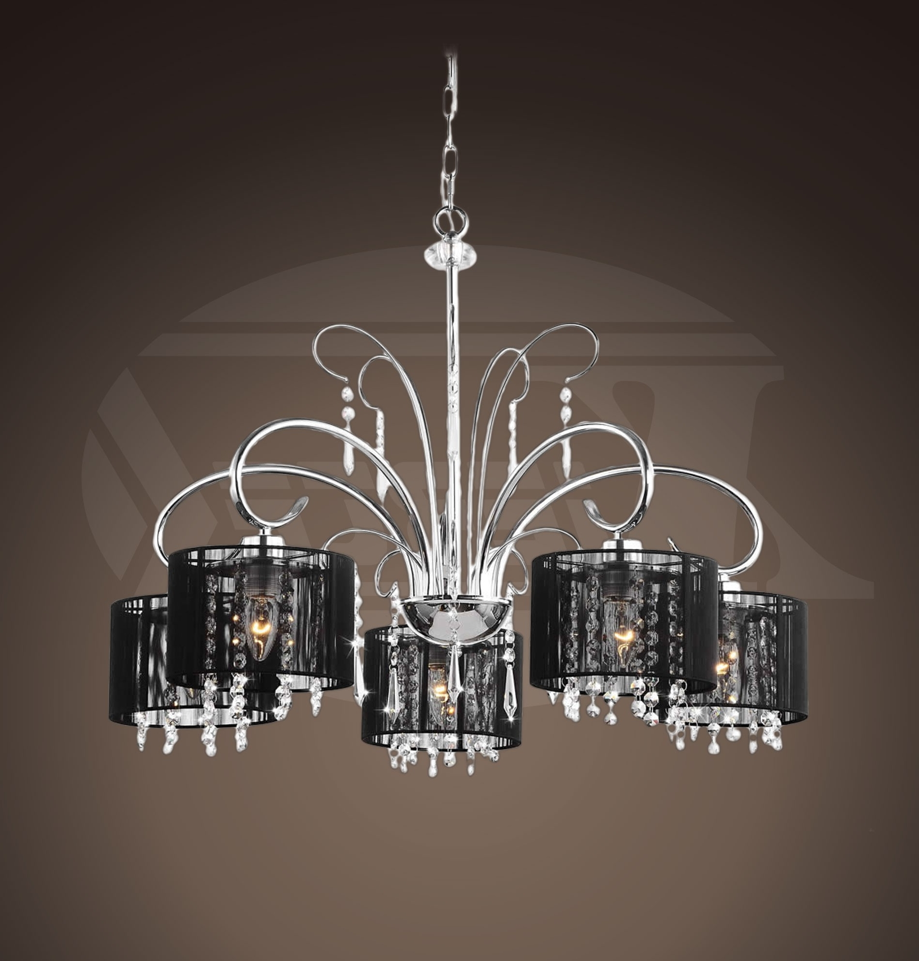 """Aegean Black Shade 5 Light Chrome Chandelier (25.5""""wx64""""h For Well Known Black Chandeliers With Shades (Gallery 2 of 20)"""