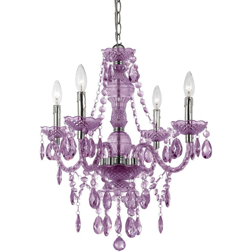 Af Lighting Naples 4 Light Chrome Mini Chandelier With Light Purple Inside Preferred Purple Crystal Chandeliers (View 2 of 20)