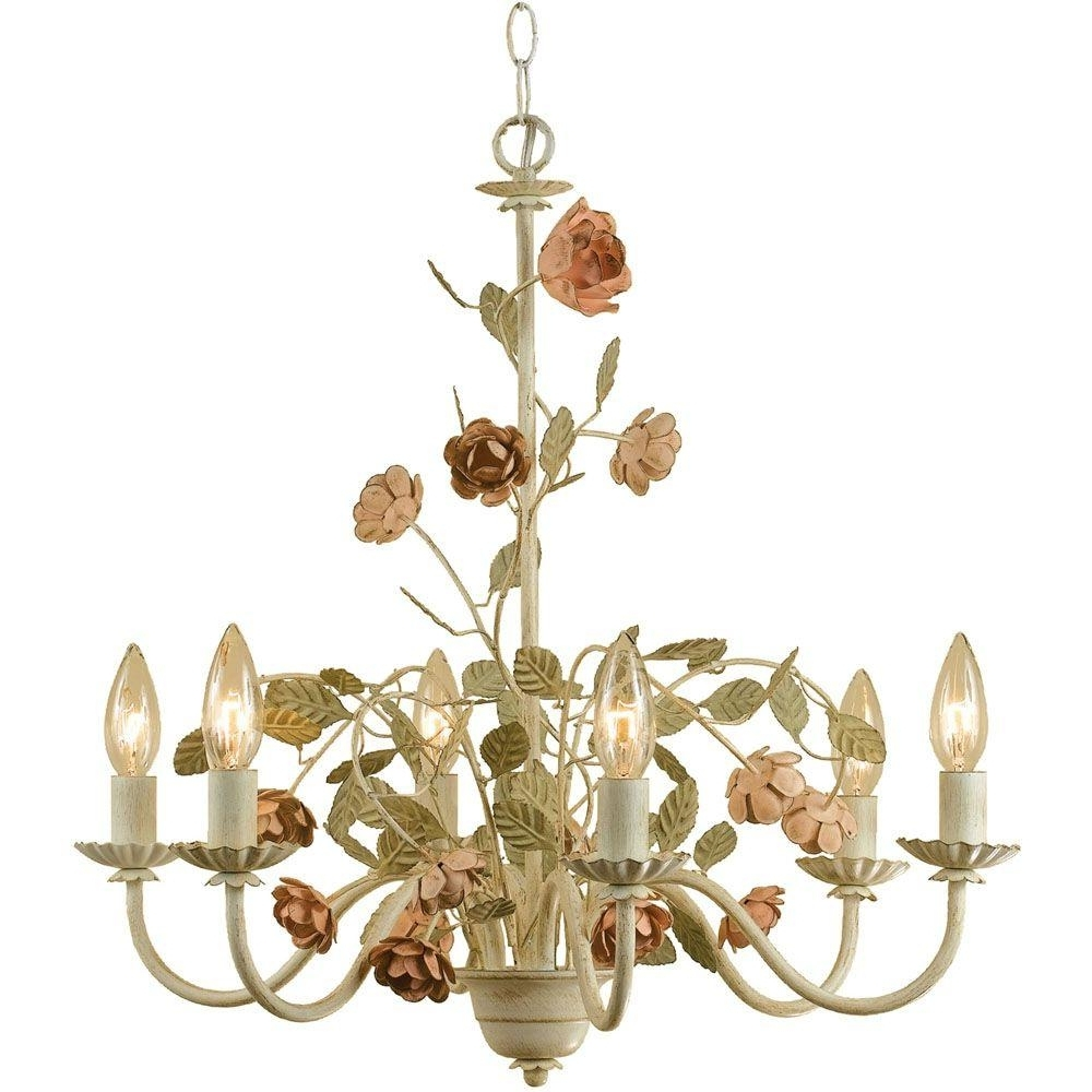 Af Lighting Ramblin' Rose 6 Light Antique Cream Chandelier With With Most Recent Cream Chandelier (Gallery 15 of 20)