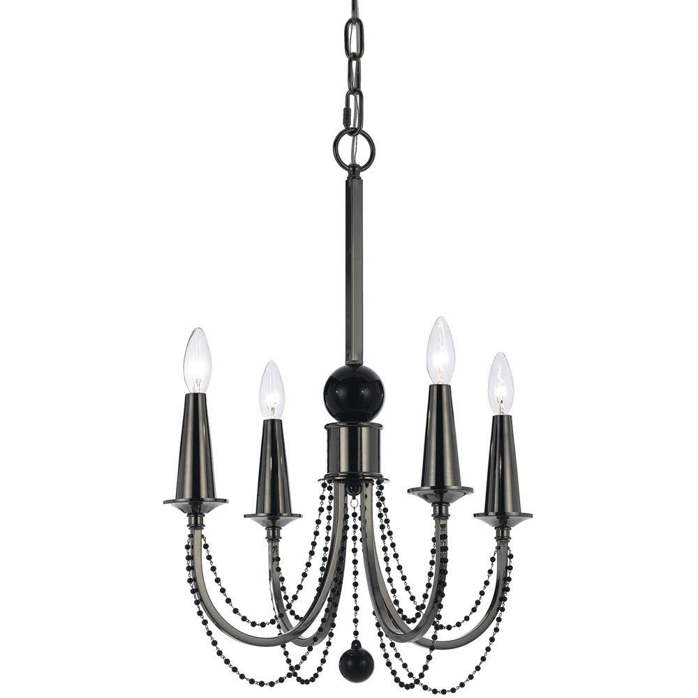 Af Lighting Shelby 4 Light Black Nickel Chandelier With Black Glass Intended For 2018 Black Glass Chandelier (View 10 of 20)