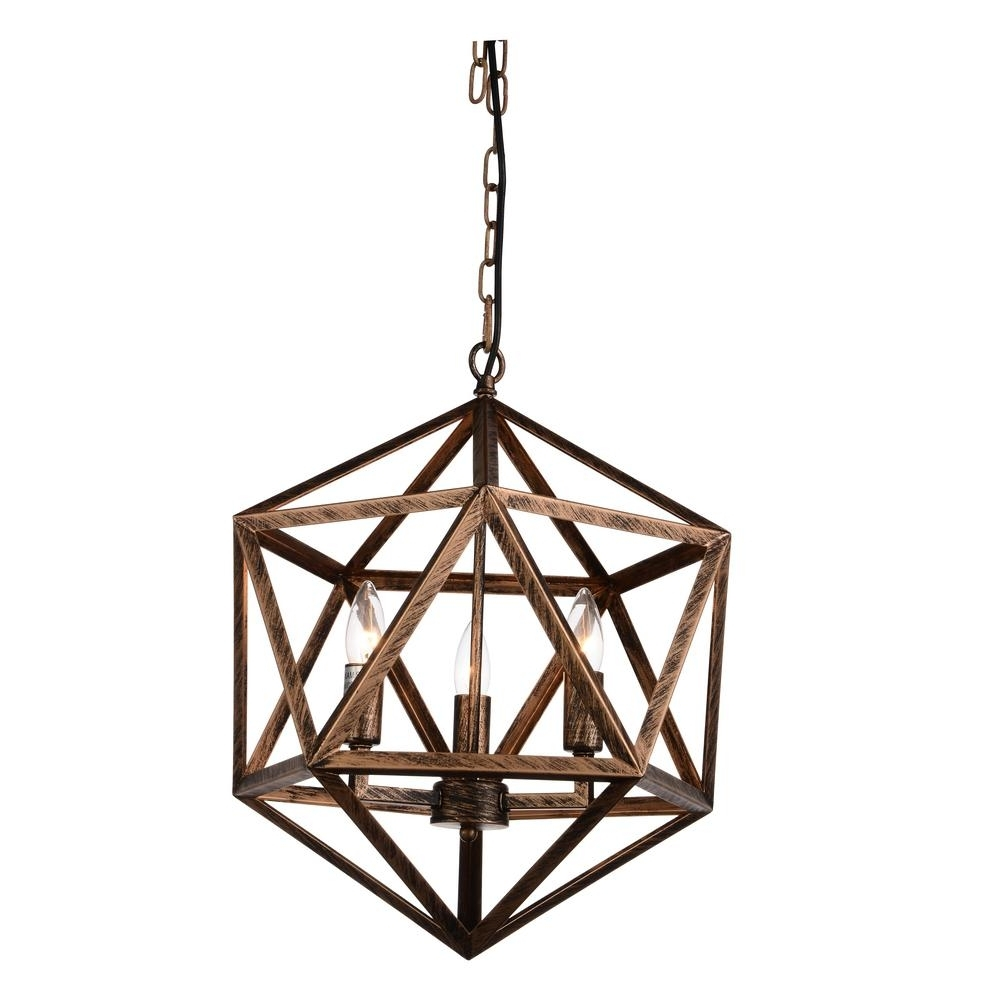 Amazon 3 Light Antique Forged Copper Chandelier 9641p17 3 128 – The With Well Known Copper Chandelier (View 4 of 20)