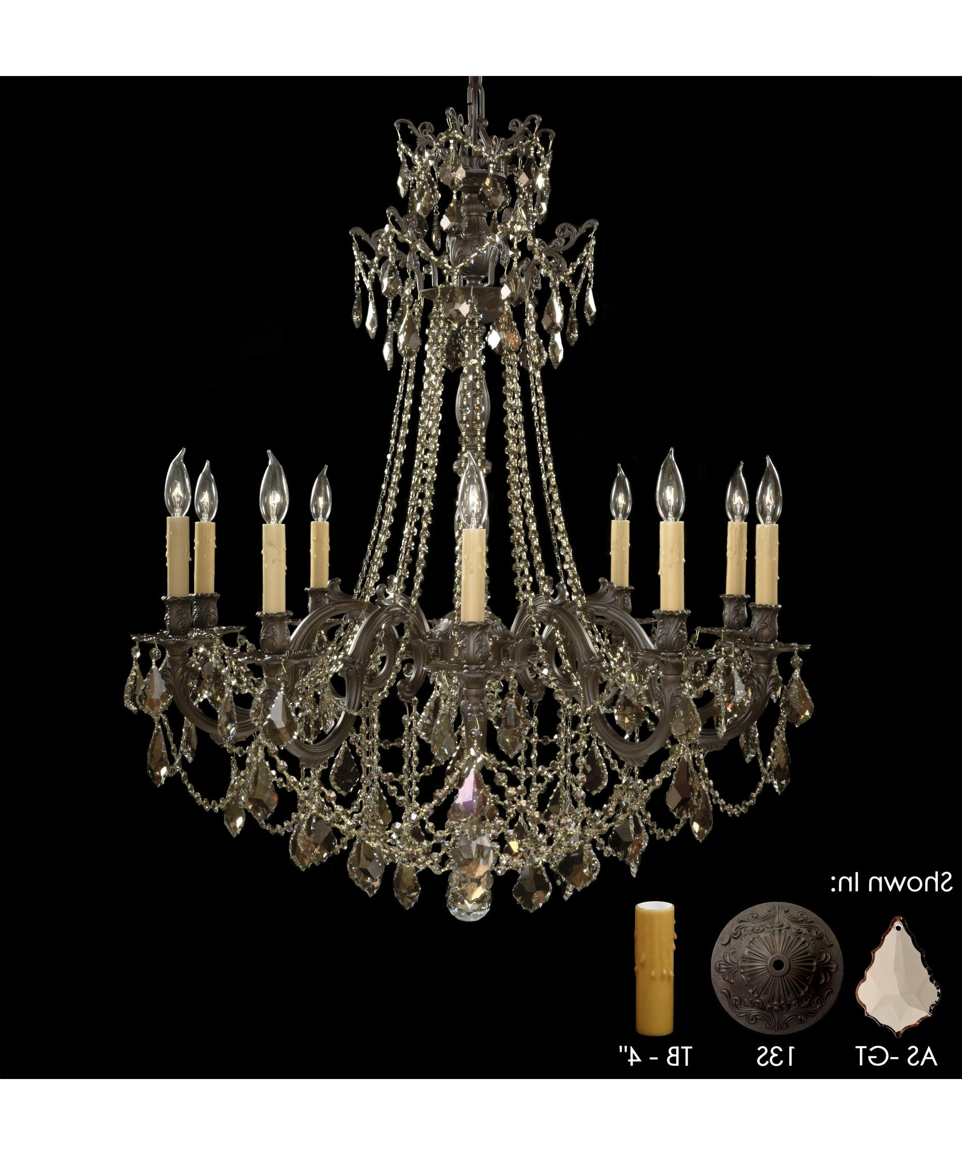 American Brass And Crystal Ch9258 Biella 36 Inch Wide 10 Light With Regard To Most Recent Brass And Crystal Chandelier (View 1 of 20)