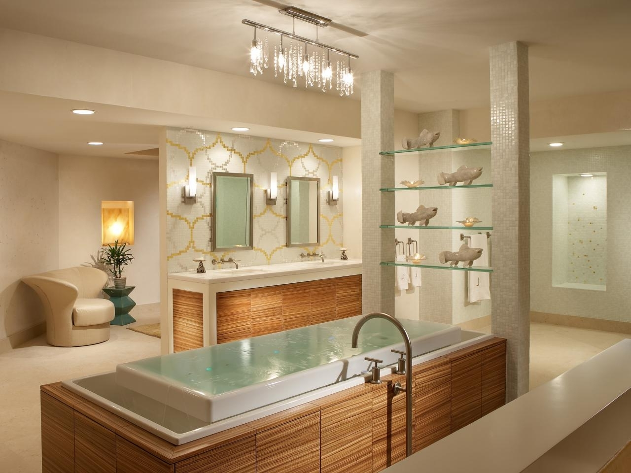 Amusing Modern Bathroom Lighting Large Sink With A Small Chandelier Throughout Well Known Chandelier Bathroom Lighting (Gallery 13 of 20)