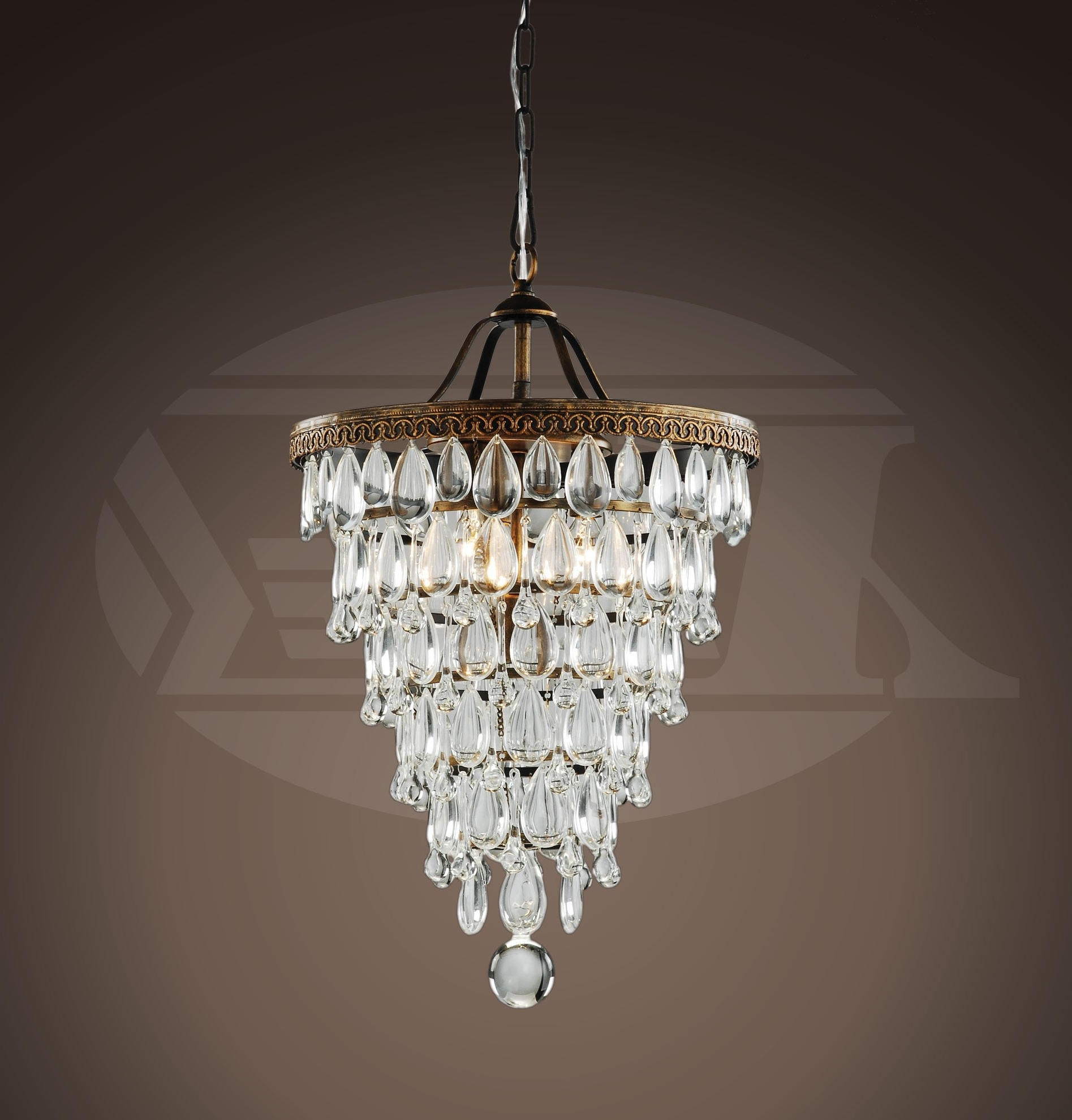 Annabelle Crystal Cone Shape 4 Light Antique Copper Glass Drop Throughout Most Current Copper Chandelier (View 2 of 20)