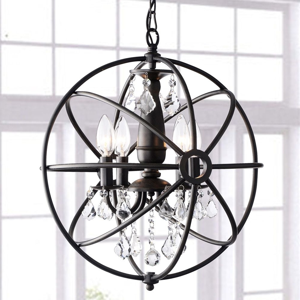 Antique Black Chandelier Regarding Favorite Benita Antique Black 4 Light Iron Orb Crystal Chandelier – Free (Gallery 19 of 20)