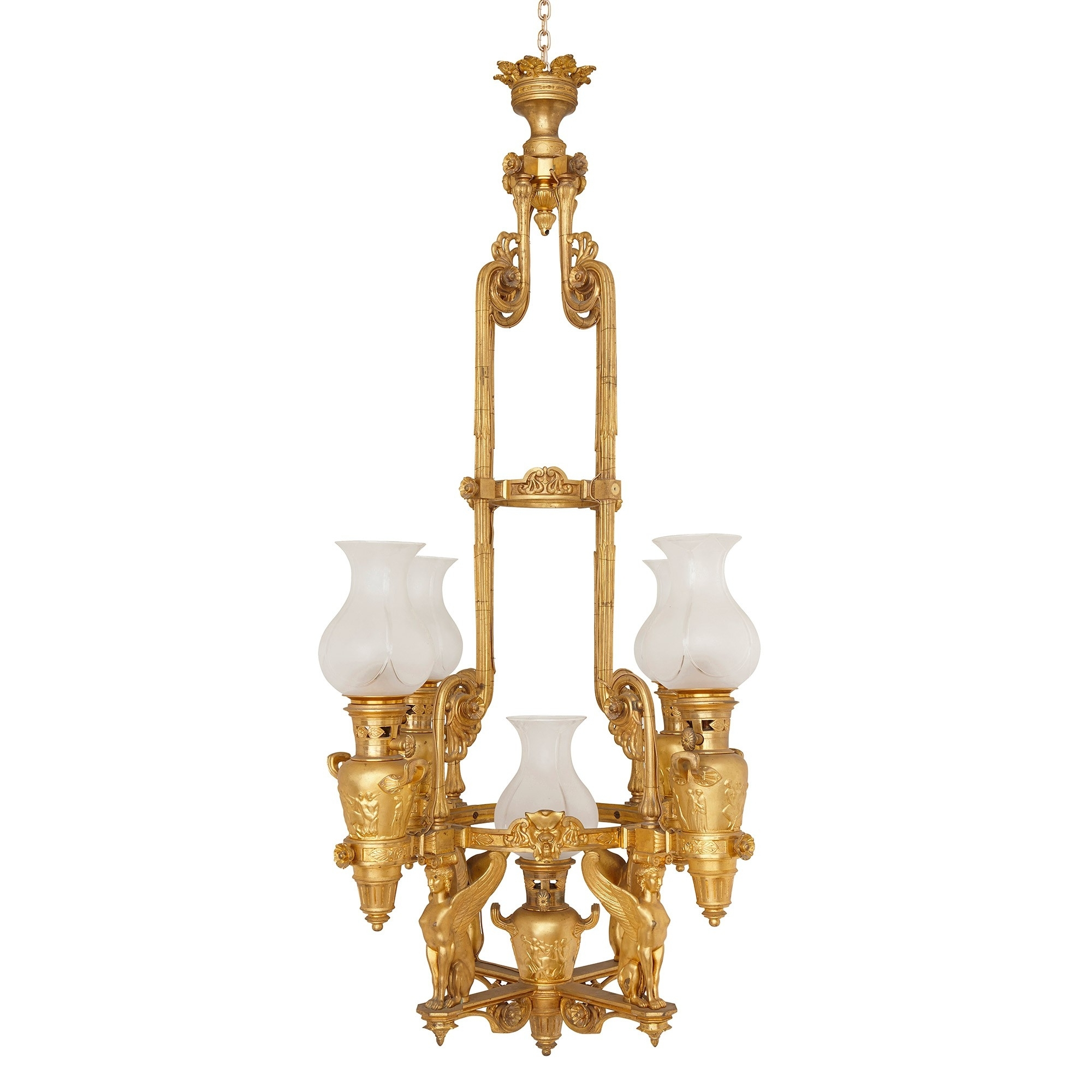 Antique French Empire Style Ormolu Chandelier (View 3 of 20)
