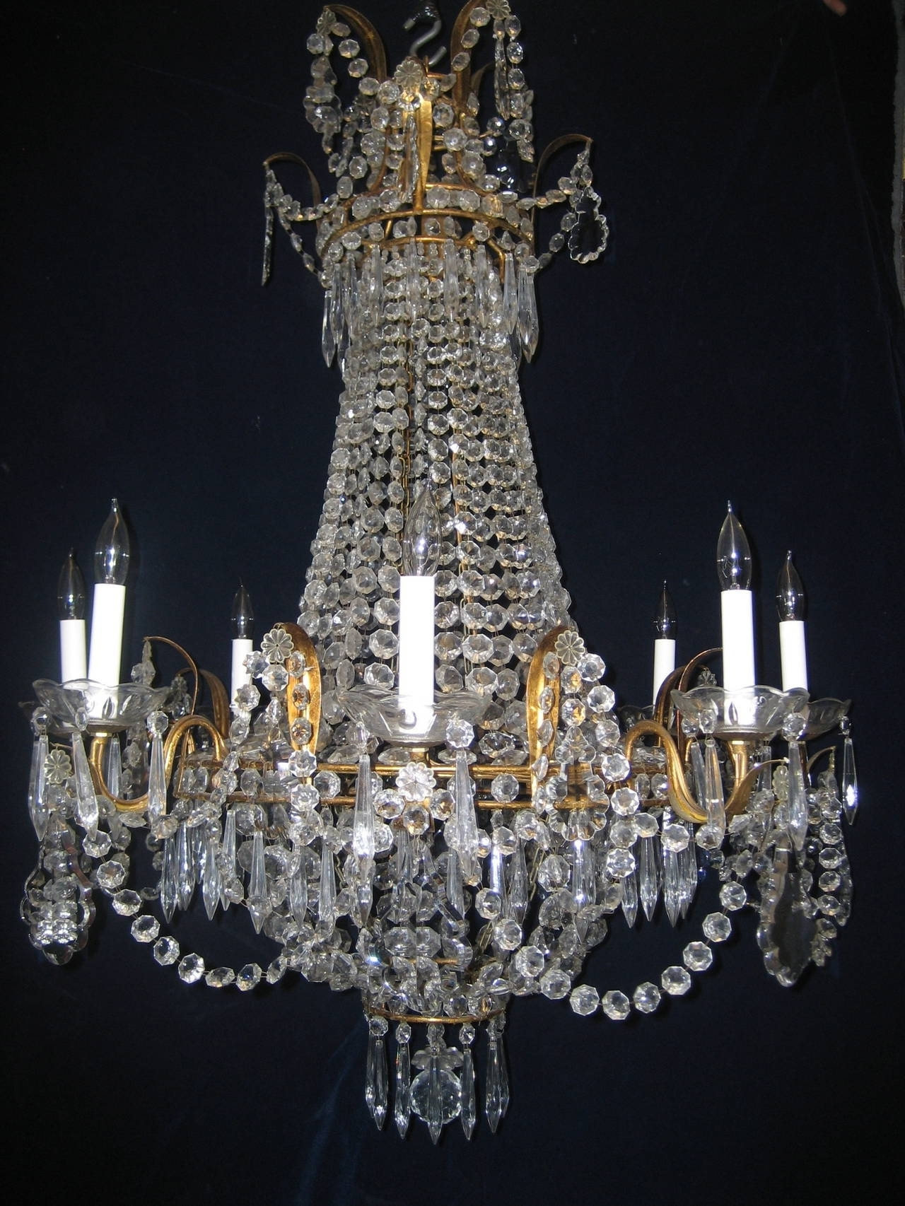 Antique Looking Chandeliers Regarding Trendy Set Of Three Antique French Louis Xvi Style Gilt And Crystal (View 5 of 20)
