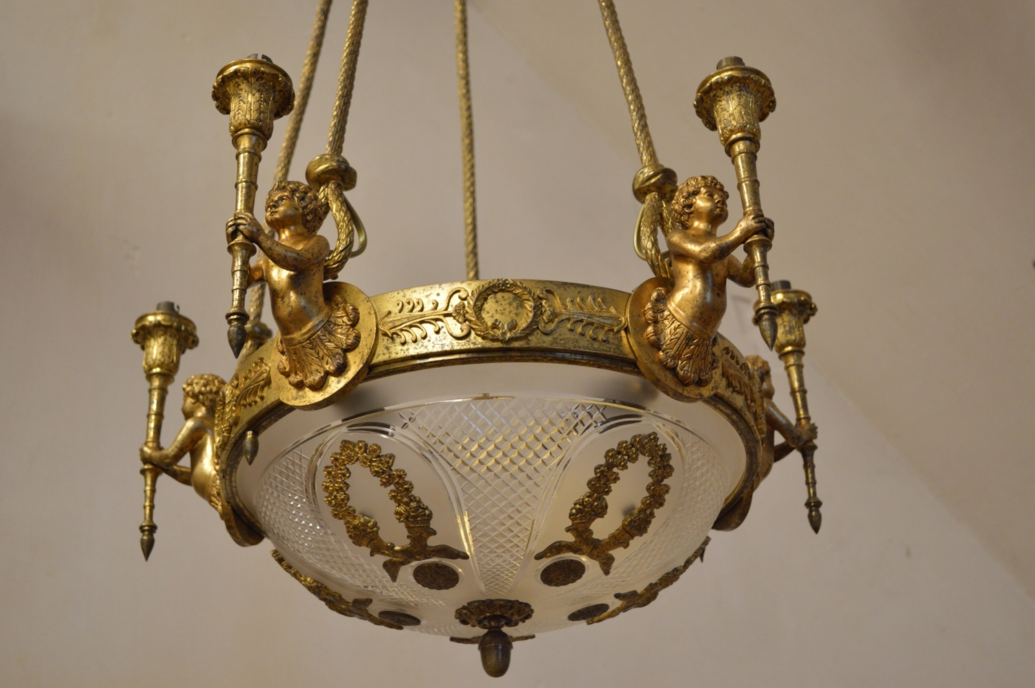 Antique Louis Xvi Style Chandelier With Cherubs In Gilt Bronze For Throughout Most Popular Antique Style Chandeliers (Gallery 18 of 20)