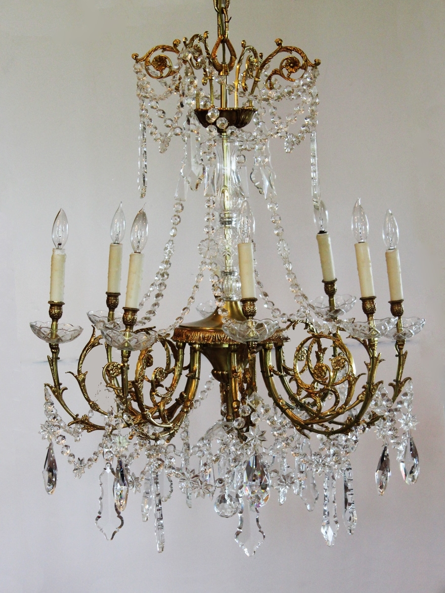 Antique Rare Baccarat Gilt Bronze Crystal Chandelier Showstopper With Regard To Current Antique Chandeliers (View 13 of 20)