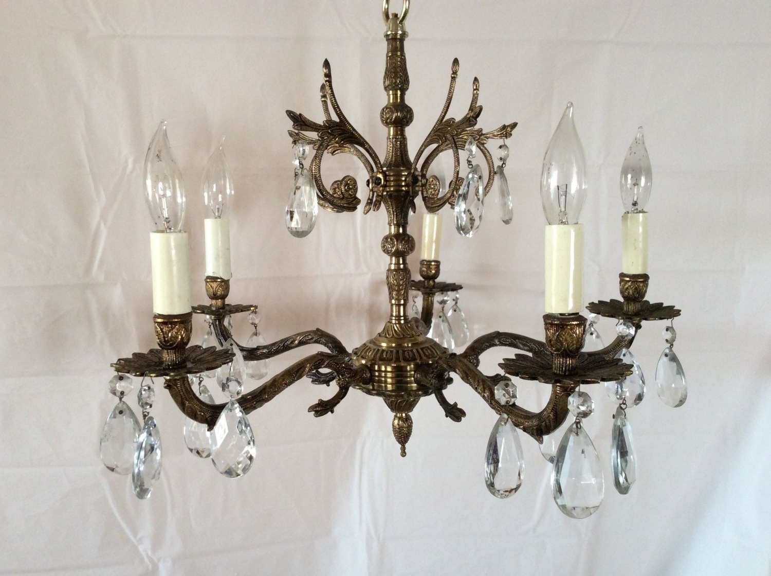 Antique Vintage Brass Crystal Chandelier Made In Spain 1930S (Gallery 18 of  20) - Showing Gallery Of Crystal And Brass Chandelier (View 18 Of 20 Photos)