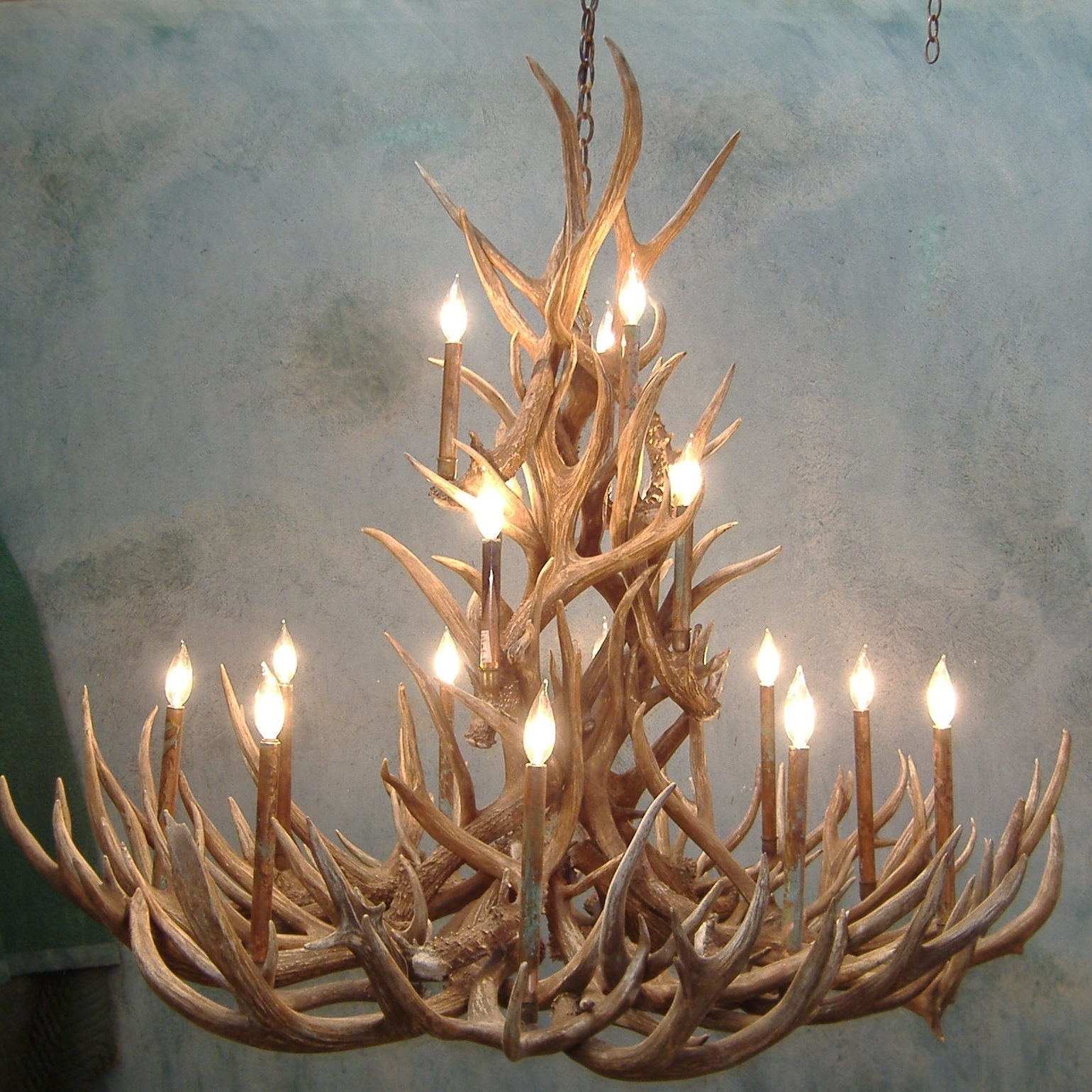 Antler Chandelier Intended For Trendy Spruce Mule Deer Antler Chandelier (View 2 of 20)