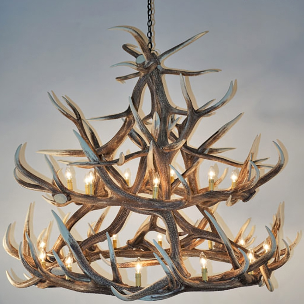 Antler Chandeliers Within Well Known Elk 18 Antler Chandelier E18 (Gallery 12 of 20)