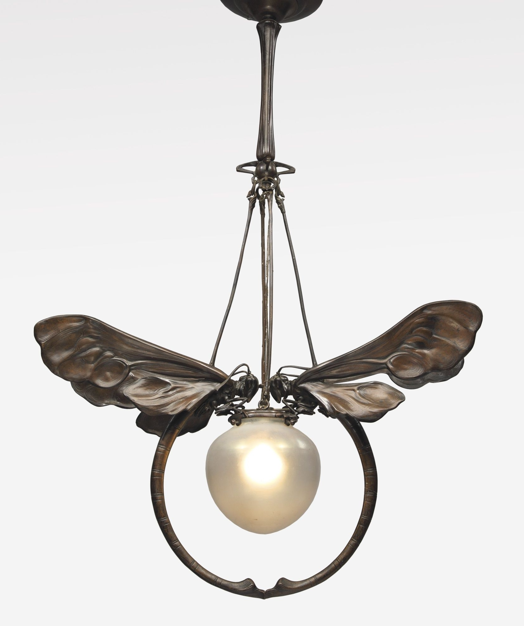 Art Deco Chandelier Regarding Fashionable European Art Nouveau Chandelier Patinated Bronze And Glass (View 3 of 20)