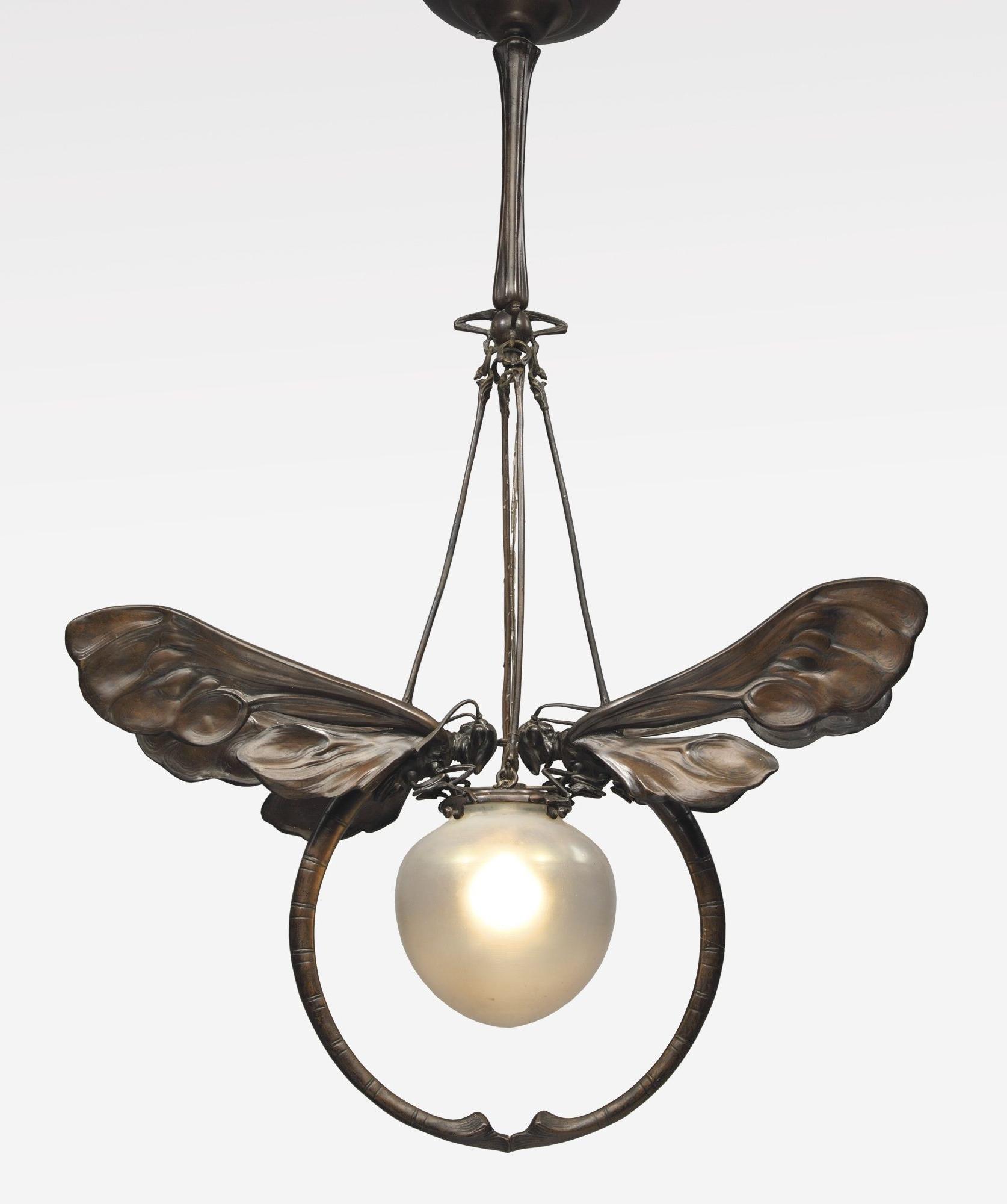 Art Deco Chandelier Regarding Fashionable European Art Nouveau Chandelier Patinated Bronze And Glass (View 14 of 20)