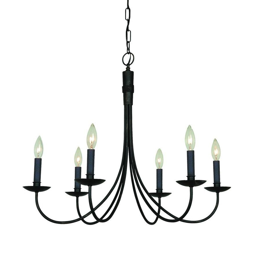 Artcraft Lighting Wrought Iron 28 In 6 Light Ebony Black Candle Within Fashionable Black Iron Chandeliers (View 6 of 20)
