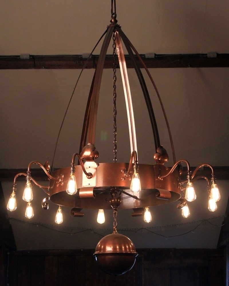Arts And Crafts 12 Branch Copper Chandelier, Vinate Retro Lighting Pertaining To Widely Used Copper Chandelier (Gallery 6 of 20)