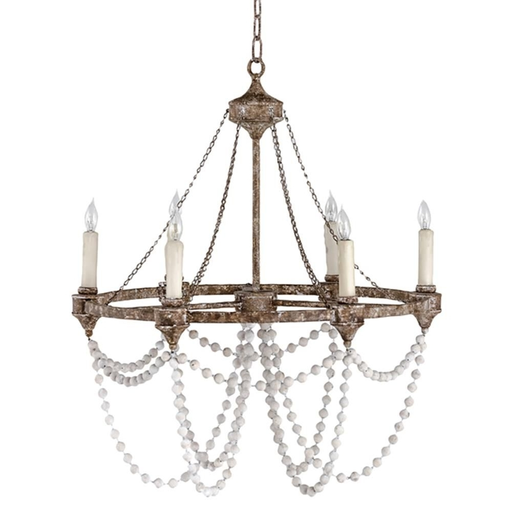 Auvergne French Country Rustic Iron White Bead Chandelier (View 16 of 20)