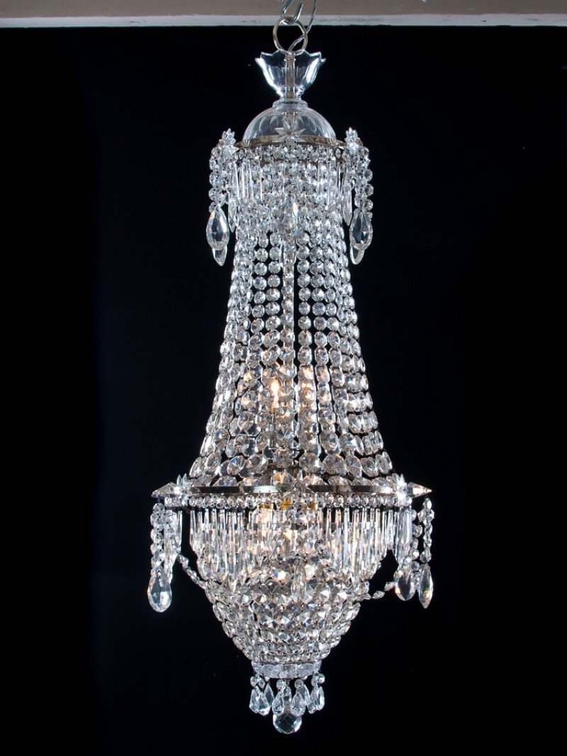 Bag Antique Crystal Chandelier, Antique Lighting Intended For Trendy Crystal Waterfall Chandelier (View 3 of 20)