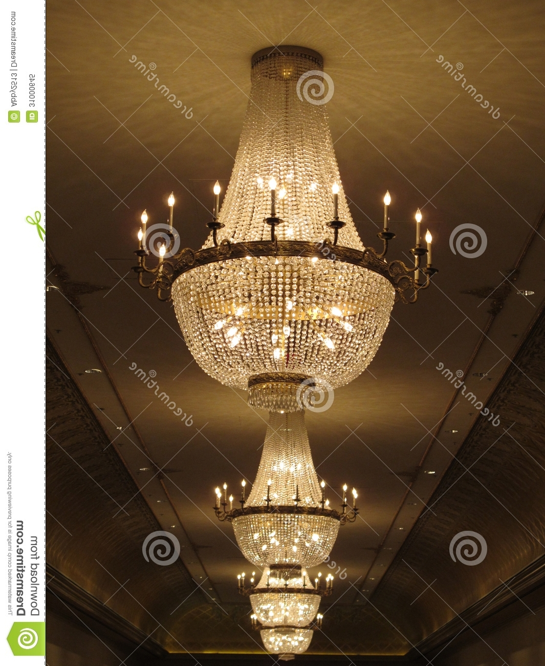 Ballroom Chandeliers Regarding Most Recent Gorgeous Crystal Chandelier Stock Image – Image Of Candles, Assets (View 4 of 20)