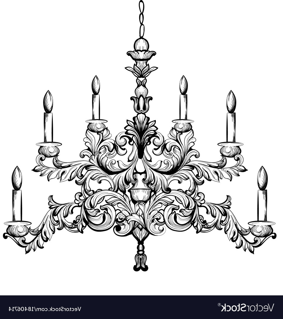 Baroque Chandelier Luxury Decor Accessory Design Vector Image For Most Recently Released Baroque Chandelier (View 1 of 20)