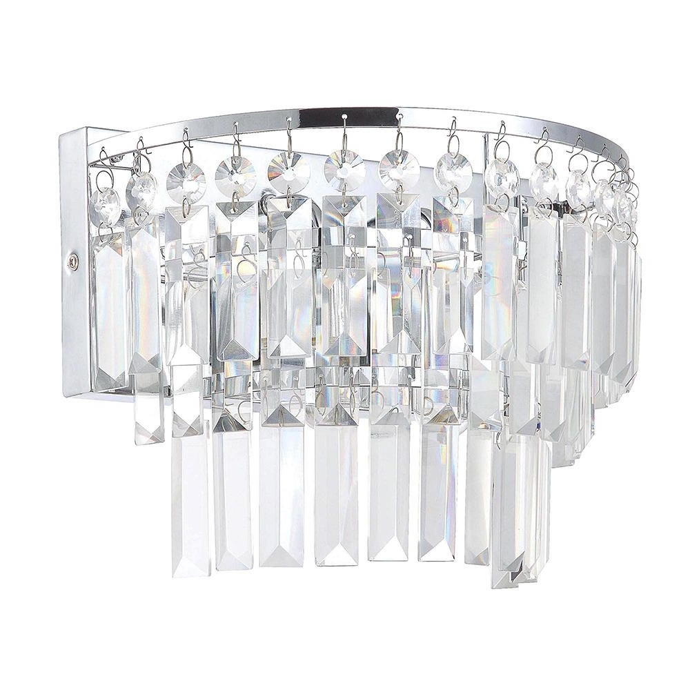 Bathroom Chandelier Wall Lights With Widely Used Bathroom Wall Light Vasca 2 Light Crystal Bar Chrome From Litecraft (View 10 of 20)