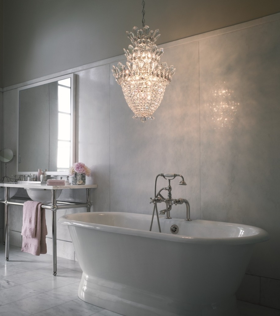 Bathroom : Creative Chandeliers For The Bathroom Interior Design Throughout Newest Chandeliers For The Bathroom (View 4 of 20)