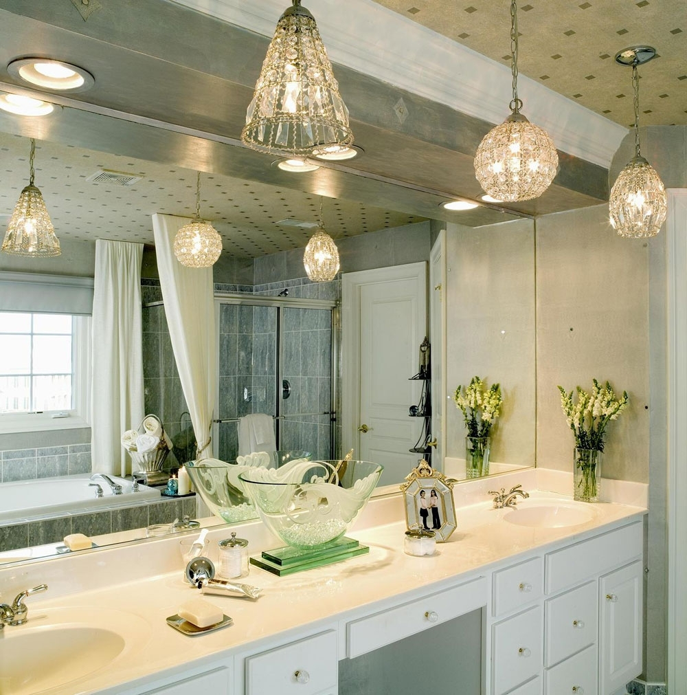Bathroom: Modern Bathroom Lighting In Luxurious Theme With Bathroom Intended For Well Known Chandelier Bathroom Lighting Fixtures (View 2 of 20)