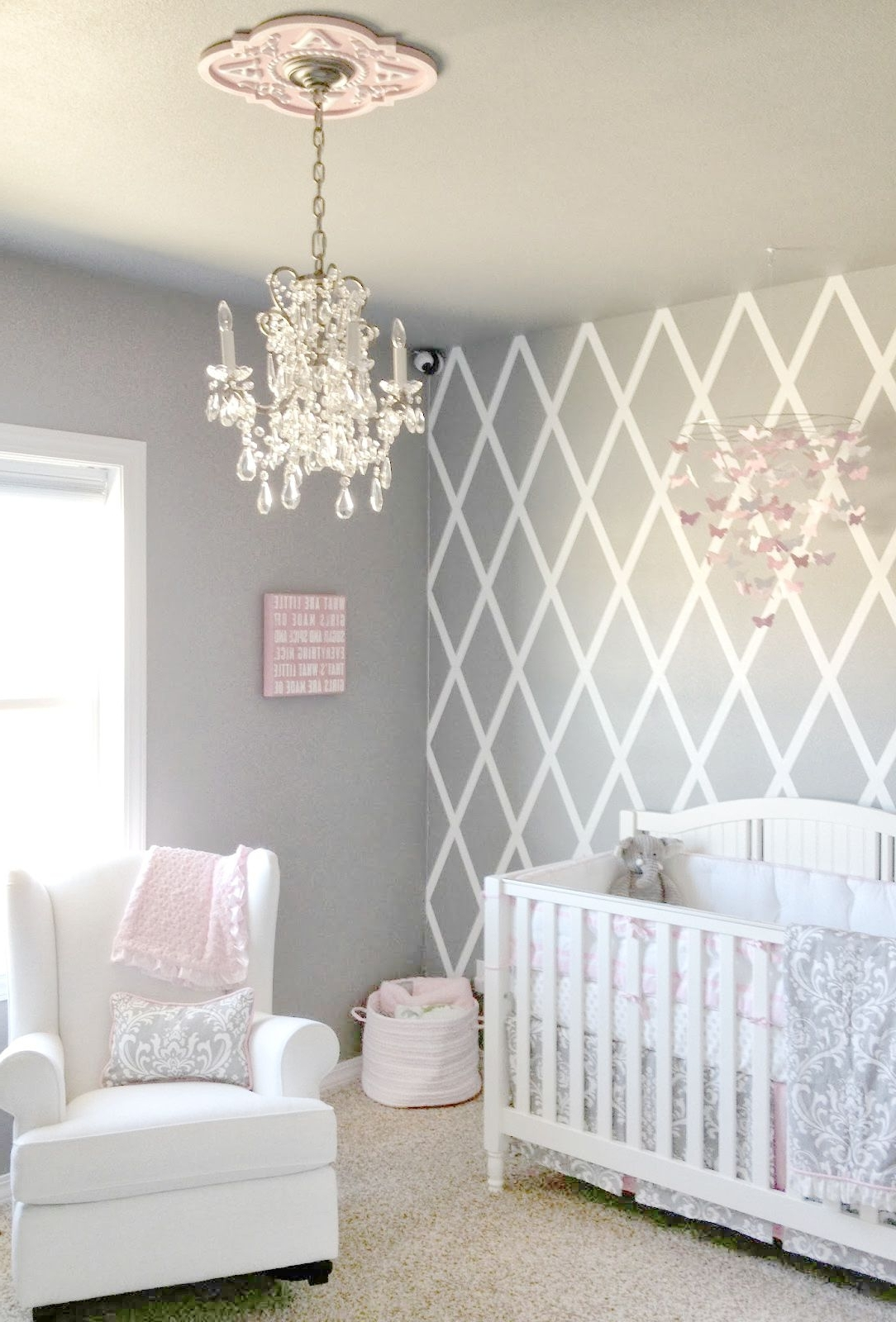 Beautiful Gray And Pink Nursery Features Our Stella Gray Baby With Regard To 2018 Chandeliers For Baby Girl Room (View 3 of 20)