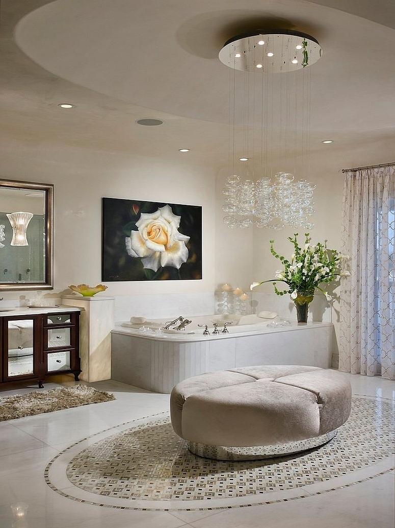 Bedroom & Bathroom: Brilliant Bathroom Chandeliers For Contemporary With Regard To Well Known Crystal Bathroom Chandelier (View 3 of 20)