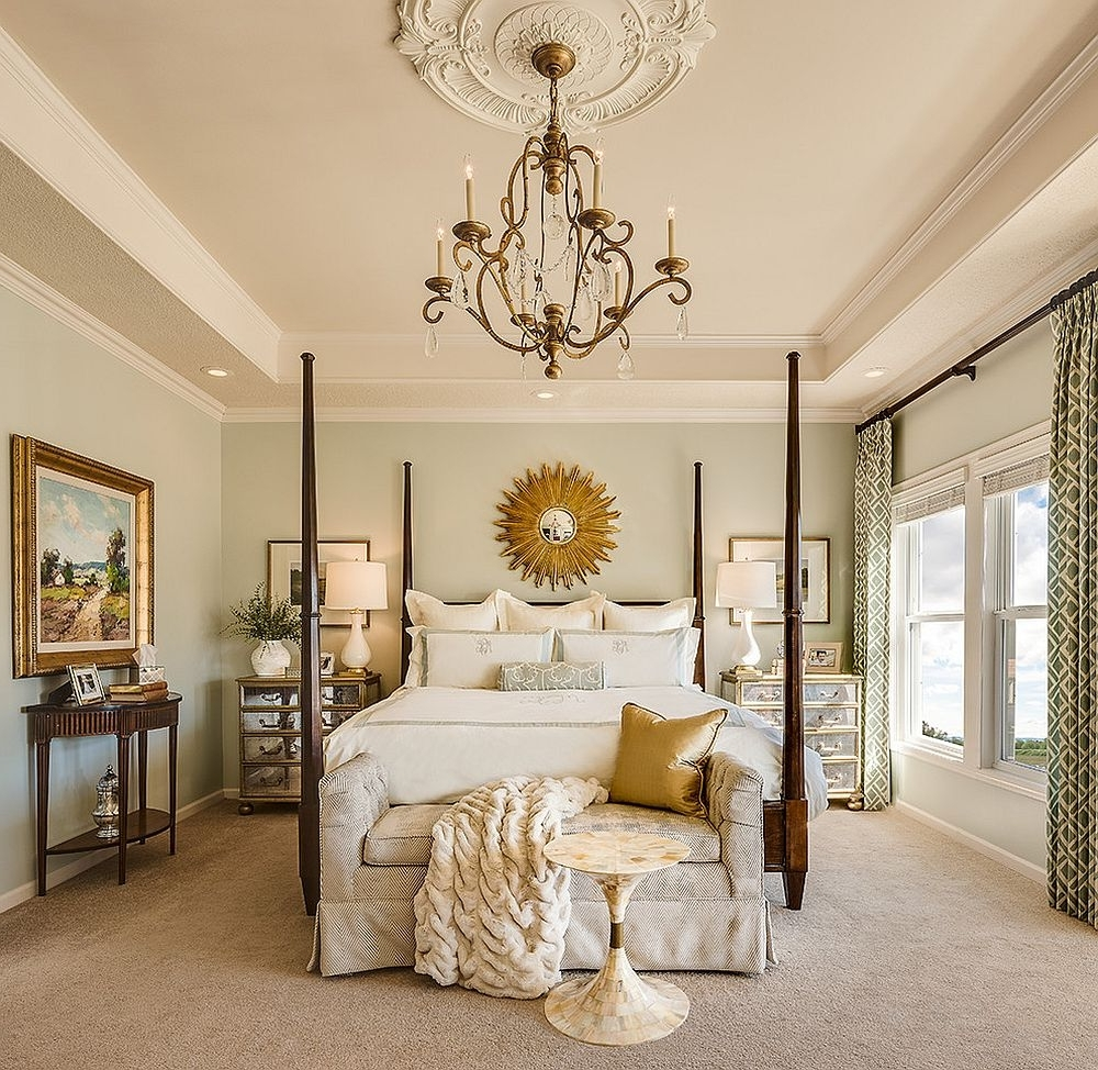 Bedroom Chandeliers Regarding Well Liked Gorgeous And Comfortable Bedroom With Sunburst Mirror And Lovely (View 6 of 20)