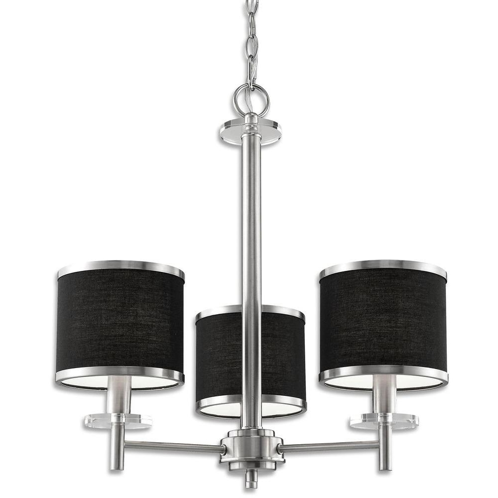 Beldi Medford Collection 3 Light Satin Nickel Chandelier With Black Within Well Liked Chandeliers With Black Shades (View 11 of 20)