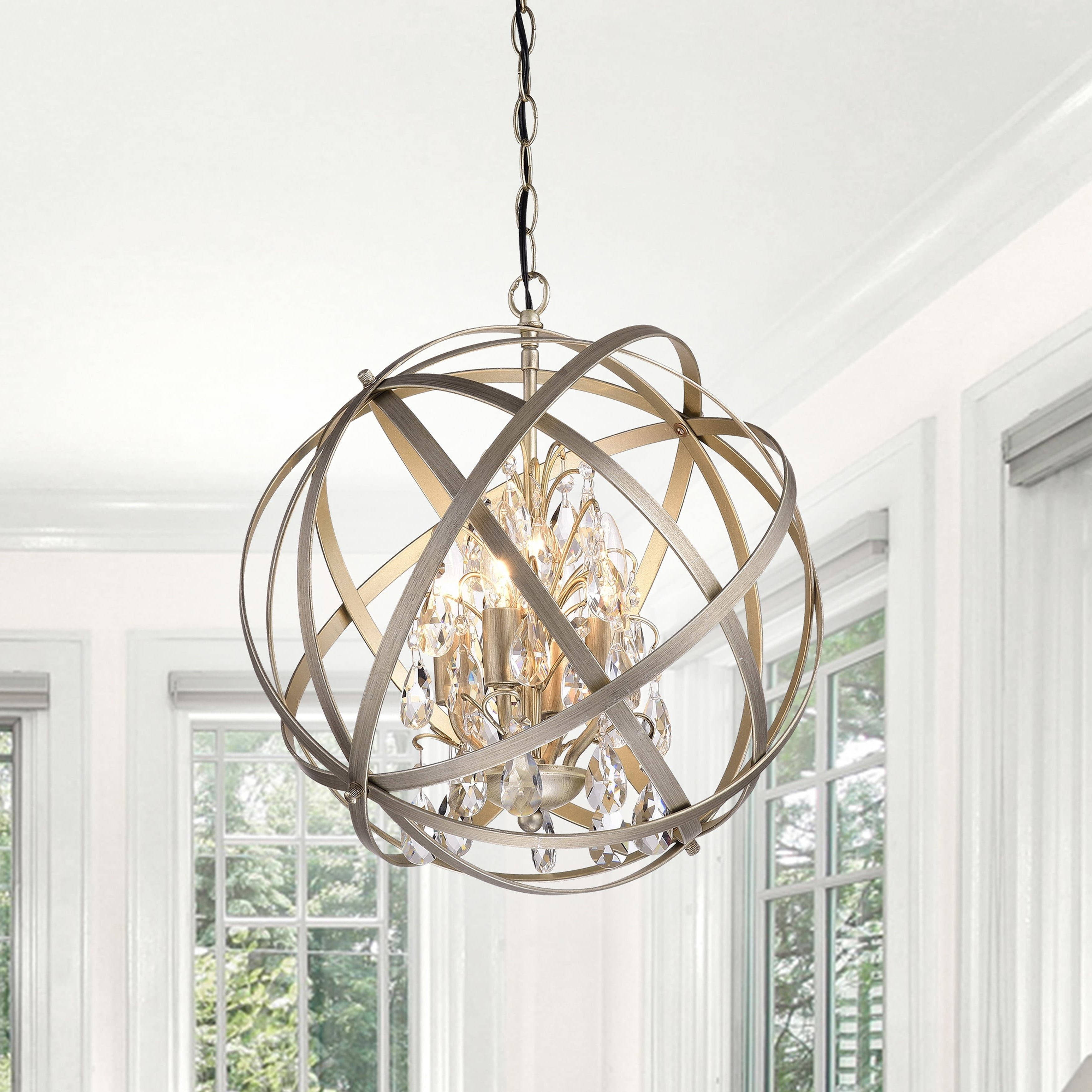 Benita Antique Copper 3 Light Metal Globe Crystal Chandelier For Preferred Globe Crystal Chandelier (View 1 of 20)