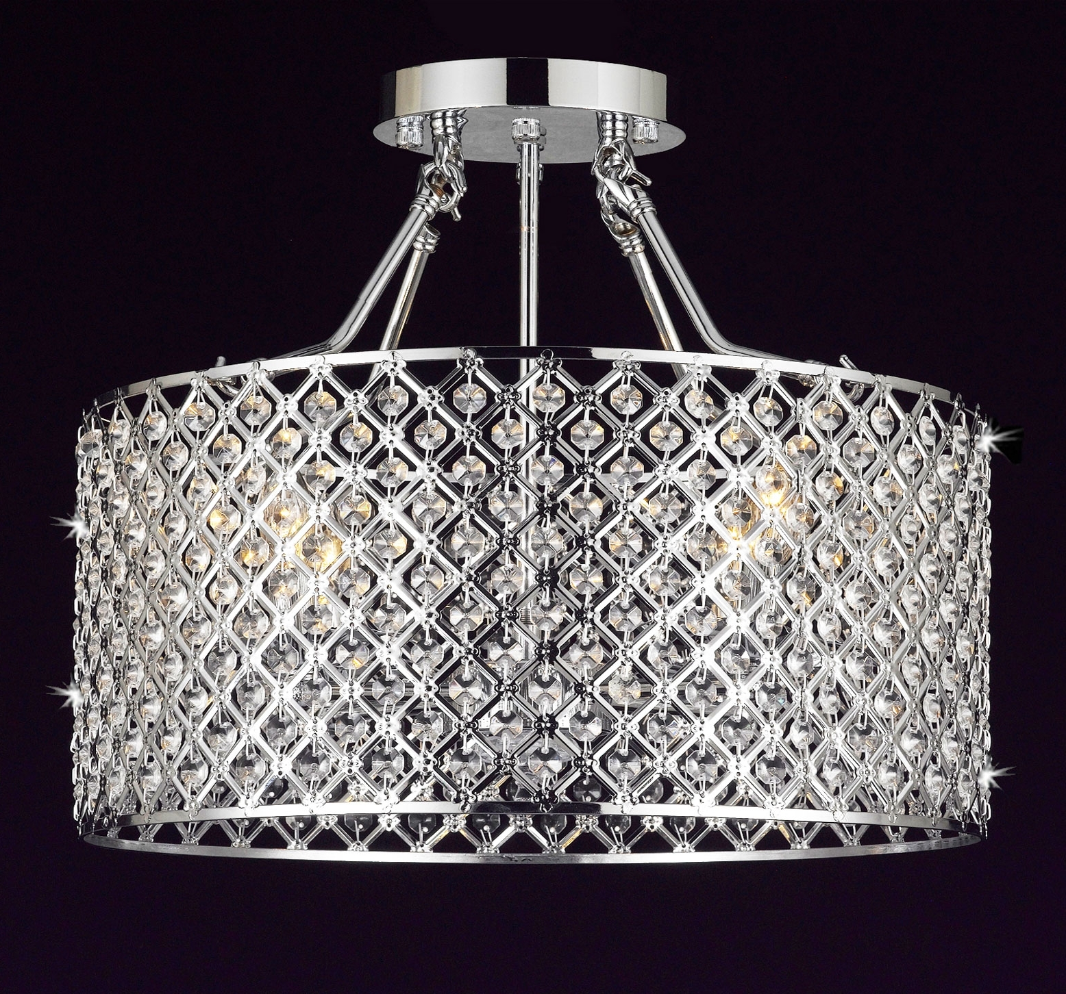 Best And Newest 4 Light Chrome Crystal Chandeliers Pertaining To G7 B12/white/2130/4 Gallery Chandeliers Flushmount 4 Light Chrome (View 12 of 20)