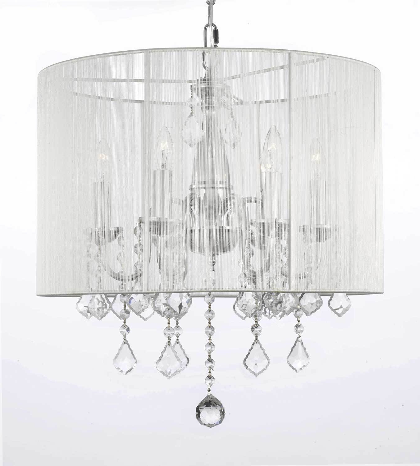 Best And Newest Attractive White Chandelier With Shades G7 11266 Gallery Chandeliers Throughout Crystal Chandeliers With Shades (View 4 of 20)