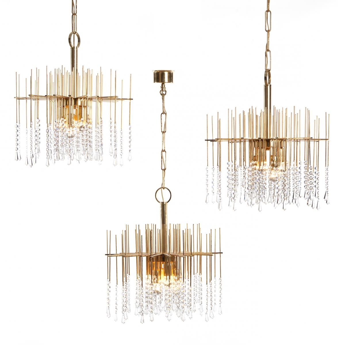 Best And Newest Brass And Crystal Chandeliers Regarding Six Light Gilt Brass And Crystal Chandelier Light, 1960S For Sale At (View 1 of 20)
